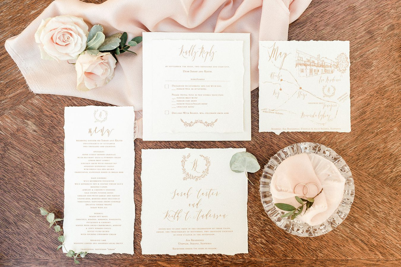 Wedding stationery ASA Residence Private Wedding Villa Kras Slovenia